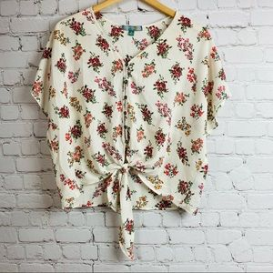 Good Luck Gem Tie Front Buttoned Ivory Floral Print Top